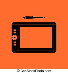 Graphic tablet icon. Orange background with black. Vector...
