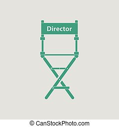 Director chair icon. Gray background with green. Vector...