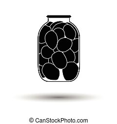 Canned tomatoes icon White background with shadow design...