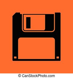 Floppy icon. Orange background with black. Vector...