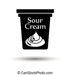 Sour cream icon White background with shadow design Vector...