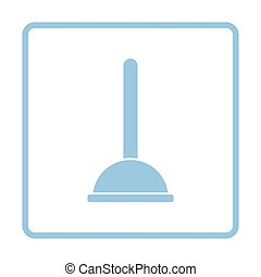 Plunger icon. Blue frame design. Vector illustration.
