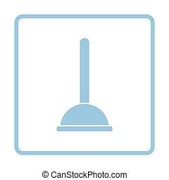 Plunger icon. Blue frame design. Vector illustration.