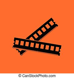 Computer memory icon. Orange background with black. Vector...