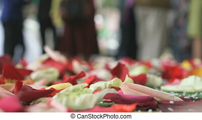 Wedding tradition. Rose petals scattered on carpet - Wedding...