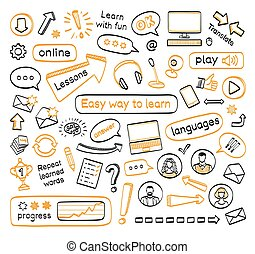 Doodle set of online lessons. Vector hand drawn sketch icons...