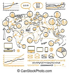 Business doodle concept. Vector hand drawn sketch icons....