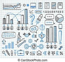 Business doodle set. - Business doodle set on paper...
