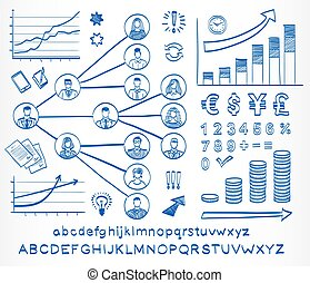 Business doodle set. Hand drawn sketch icons isolated on...