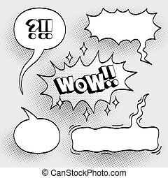Comic sound effects. - Set of comic bubbles with halftone...