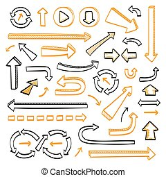 Arrows doodle set. Hand drawn sketch icons in black and...