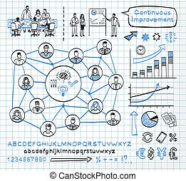 Business doodle set on paper background. Vector sketch icons...