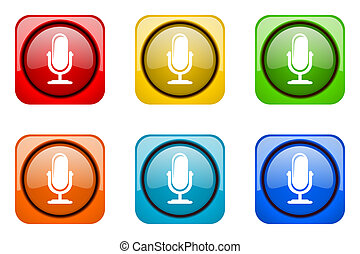microphone colorful web icons
