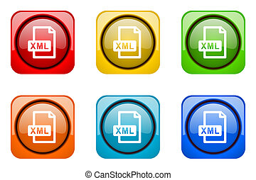 xml file colorful web icons