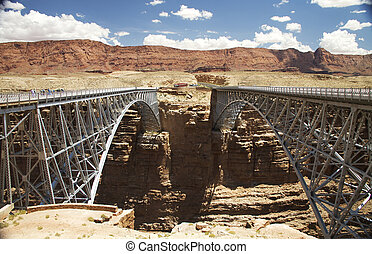 Twin Bridges - the old and new bridges over the Grand Canyon...