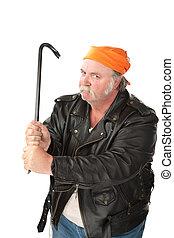 Man weilding a crowbar - Fat hoodlum with a mean face...