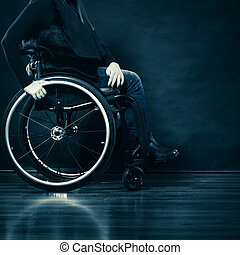 Woman invalid girl sitting on wheelchair - Real people,...
