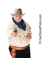 Cowboy on white background - Big cowboy pointing pistols on...