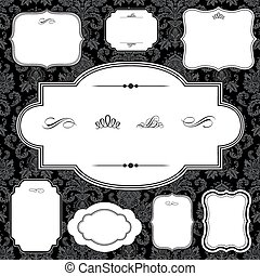 Vector Damask Pattern and Frame Set - Vector frame set. Easy...