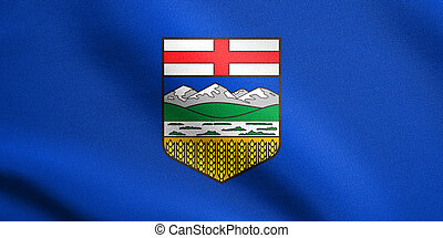 Flag of Alberta waving with fabric texture