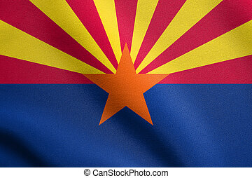 Flag of Arizona waving with fabric texture - Arizonian...