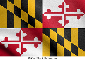 Flag of Maryland waving with fabric texture - Maryland...
