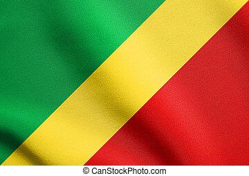 Flag of the Congo Republic waving, fabric texture - Congo...