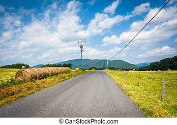 Country road with distant mountains and farm fields in the rural Shenandoah Valley, Virginia.