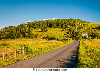 Country road and farm in the rural Shenandoah Valley of Virginia.