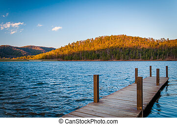 Dock on Lake Arrowhead, in Luray, in the Shenandoah Valley...