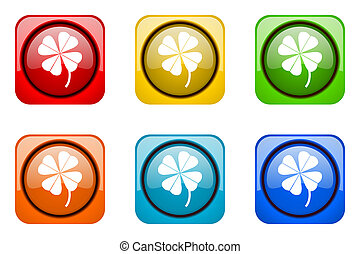 four-leaf clover colorful web icons