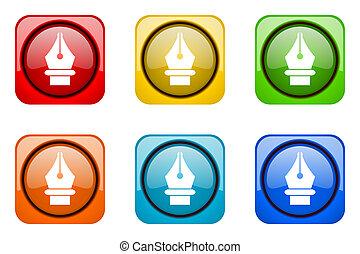 pen colorful web icons