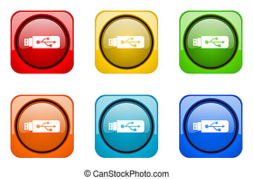 usb colorful web icons
