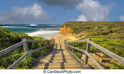 Surf Coast Victoria - Walkway of the legendary Bells Beach -...