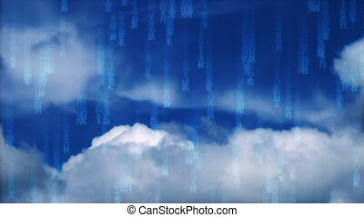 Blue Matrix cloudy sky - blue matrix cloudy sky background,...