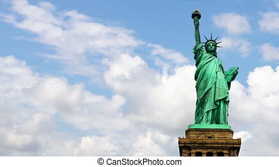 Statue of Liberty with clouds - Statue of Liberty with...