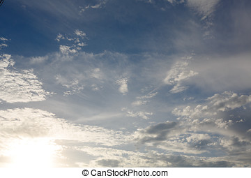 Partly Cloudy. Weather forecast. - Cumulus clouds against a...