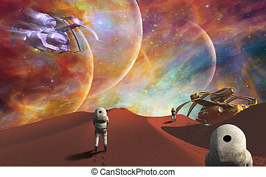 Space journey - Astronauts on another planet