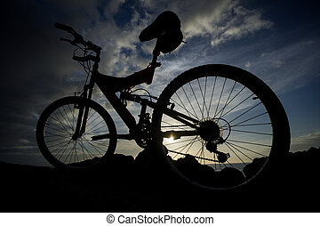 Picture of a Mountain Bike at Sunset