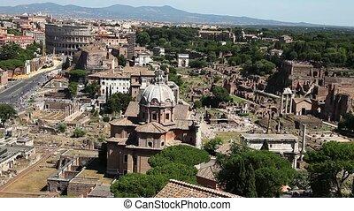 panoramic Roman Forum - 180 degrees panoramic aerial view of...