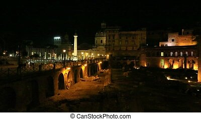 Traiano Forum in Rome by night - The Portici Laterali of the...