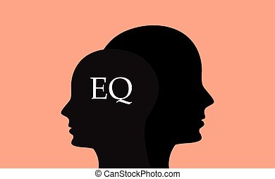 eq emotional question with sillhouette human brain head...