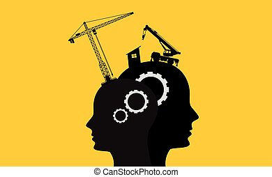 brain intelligence development concept with sillhouette two...