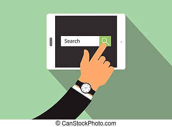 search illustration with hand searching on his tablet  view from top and flat style  long shadow