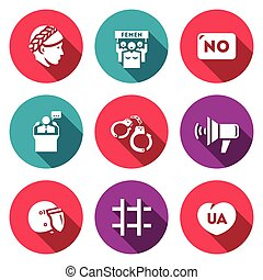 Vector Set of Feminism and Womens Rights Icons. Female,...