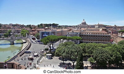 Rome Tiber skyline - Skyline from top of Castel Sant'Angelo...