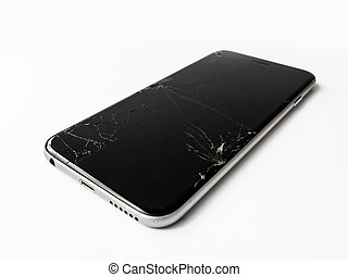 Broken smartphone with cracked screen - Close up image of...