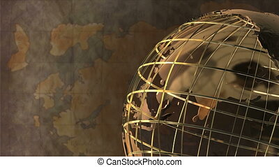 Spinning Globe with Map Background - Video of an antique...