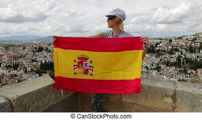 Tourist at Alhambra Granada - Tourist woman waving Spain...