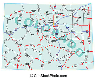 Colorado State Interstate Map - Colorado state road map with...